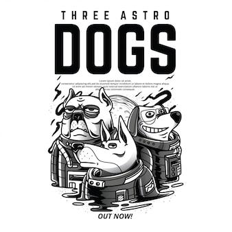 3つのアストロ犬白黒イラスト