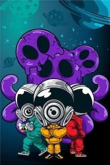宇宙にタコの怪物がいる3つの宇宙飛行士
