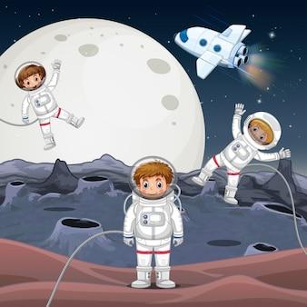 우주를 탐험하는 3 명의 우주 비행사