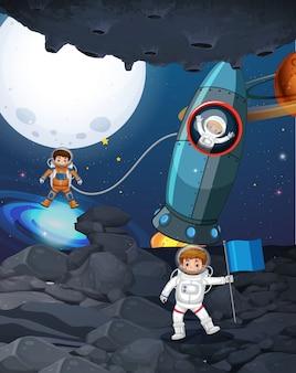 어두운 공간에서 3 명의 우주 비행사