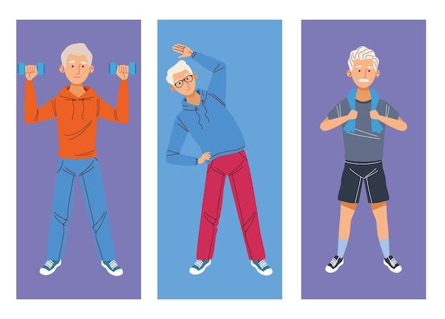 Три спортивных бабушки и дедушки