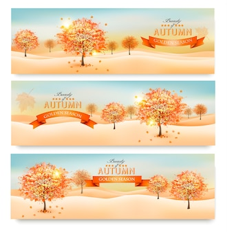 カラフルな葉と木と3つの秋の抽象的なバナー。