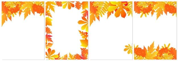 Три осенних баннера с красочными листьями вектор
