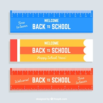 Three back to school banners in ruler style