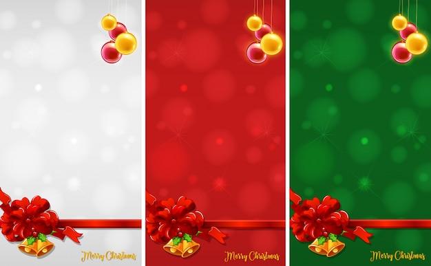 크리스마스 장신구와 3 개의 배경 디자인