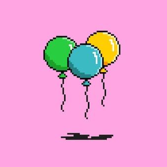 Три воздушных шара в стиле пиксель-арт