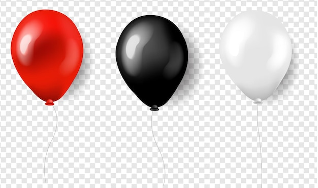 Three balloons red white and black.