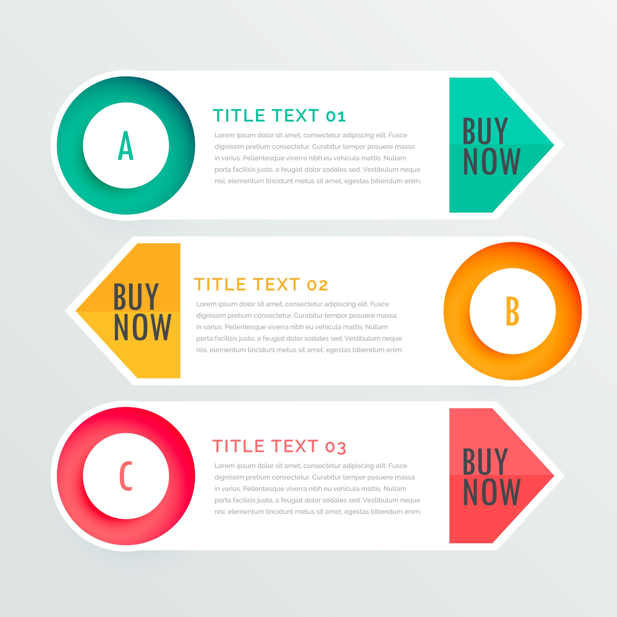 Three banners for infographic options