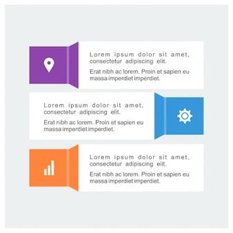 Infografica commerciali timeline con 3 passi