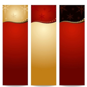 Three banners with golden lines for christmas