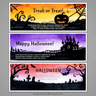 Three banners with horrific scenes of halloween