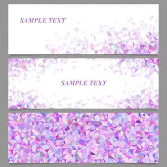 Three banners with purple polygons