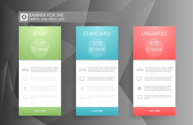 Three banners with tariffs plan. comparison of pricing table set for business, bullet list with commercial plan. template for prices of business product on gray background.