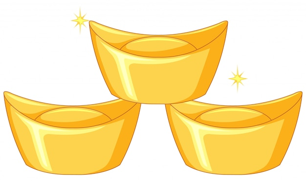 Три слитка из китайского золота