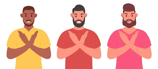 Three bearded men of different nationalities keeping arms crossed. character set. vector illustration in cartoon style.