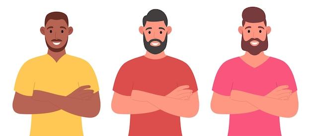 腕を組んでいる国籍の異なる3人のひげを生やした男性。キャラクターセット。漫画のスタイルでベクトルイラスト。