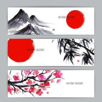 日本の自然をモチーフにした3つの美しいバナー。すみえ。手描きイラスト