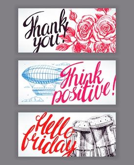 좋은 소원을 담은 아름다운 카드 세 장. 손으로 그린 그림
