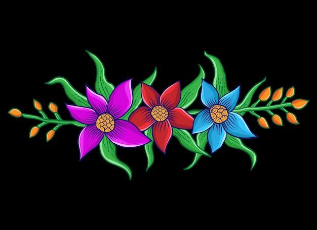 Three beautiful flowers illustration