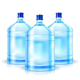 Three big bottles with clean water isolated