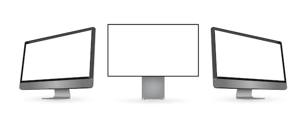 白いディスプレイストックと3つの黒いコンピューターモニター