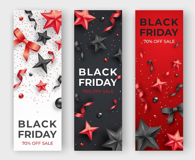 Three black friday vertical banners with realistic ribbons, stars and colorful balls.