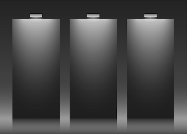 Three black vector backdrops with copy space