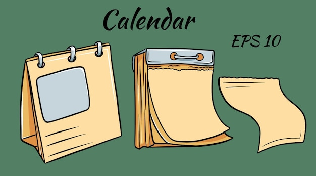 Three blank calendars of different size in cartoon style