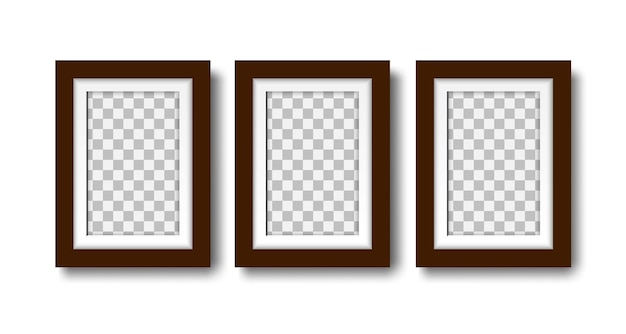Three blank photo frames set of empty frames with mat for interior design mock up