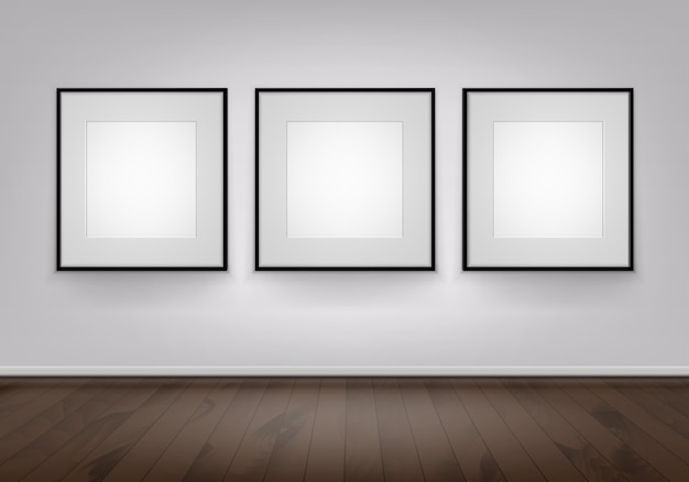 3つの空白のポスター写真の壁に黒いフレーム