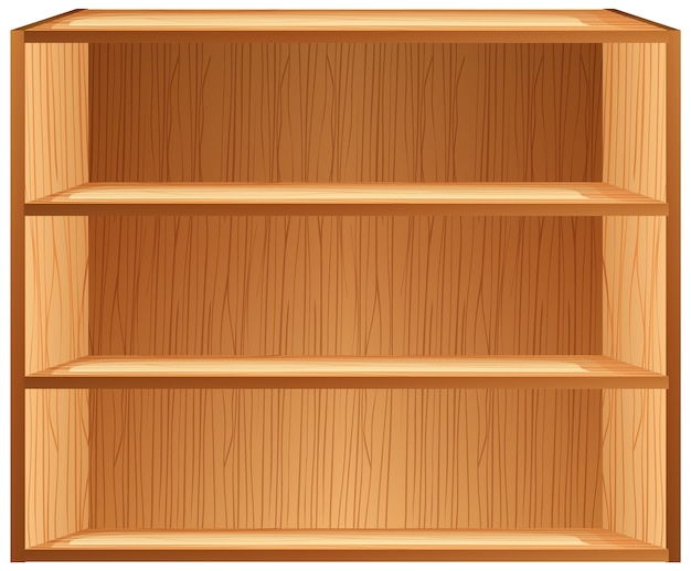 Three blank shelves in cartoon style isolated on white background