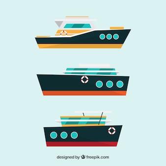 Tre barche in design piatto
