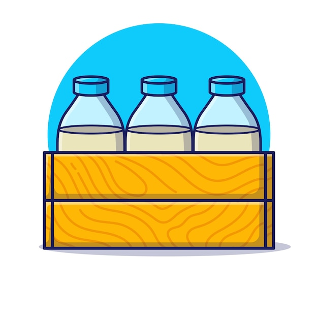 Three bottle of milk with wooden boxes cartoon icon illustration