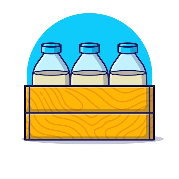 Три бутылки молока с деревянными ящиками мультфильм значок иллюстрации