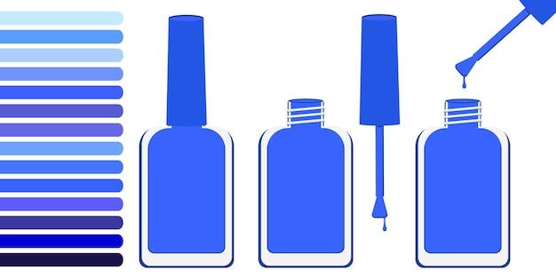 Три бутылки с голубым лаком, открытая и закрытая. рядом палитра с оттенками синего. векторная иллюстрация