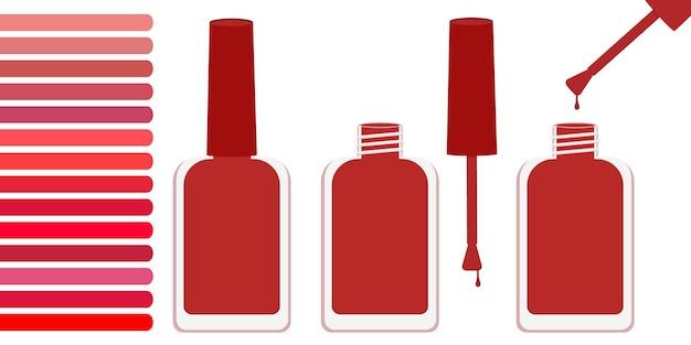 Три бутылки с красным лаком, открытая и закрытая. рядом палитра с оттенками красного. векторная иллюстрация