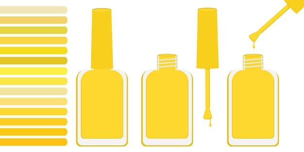 Три бутылки с желтым лаком, открытая и закрытая. рядом палитра с оттенками желтого. векторная иллюстрация