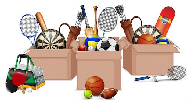 Три коробки, полные спортивного инвентаря на белом