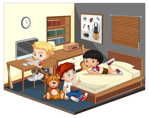 Three boys in the bedroom scene on white background