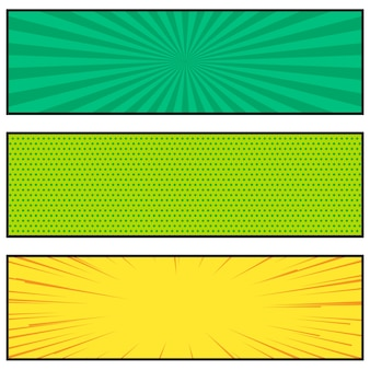 Three bright comic book style banner design