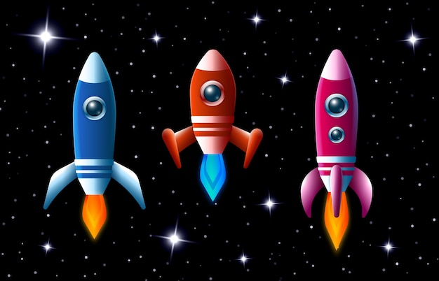 터보 부스트와 불꽃이있는 우주 공간에서 3 개의 밝은 색의 벡터 로켓이 어두운 별이 빛나는 하늘을 통해 속도를 내며 아이들 일러스트를위한 3 개의 다른 우주선 세트
