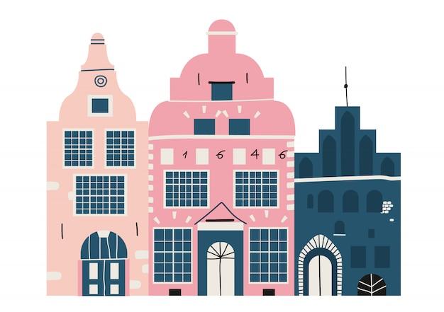 Три брата в риге. исторические здания в старой риге, латвия. три дома стоят вместе. современная рисованная архитектура. латвийская культура и традиции.