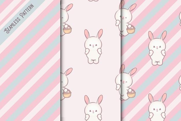Набор бесшовные модели три кроликов и полосы