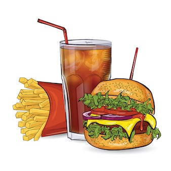 Three burgers in the sketch style on the white background.