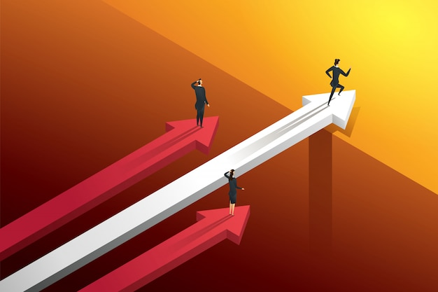 Three business people racing on the arrows but one persons running over bridge go to growth and success. illustration