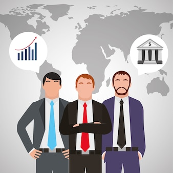 Three businessman in suit standing with world map