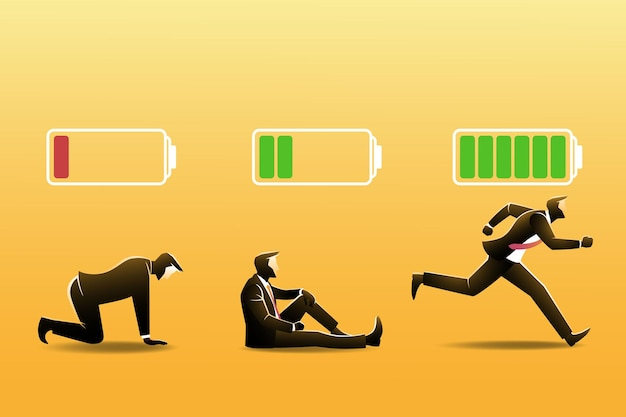 Three businessman with battery indicator.