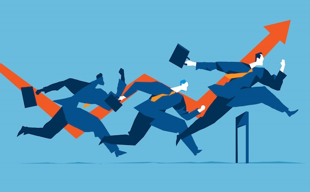 Three businessmen running over the obstacles