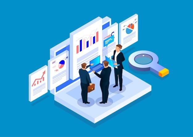 ラップトップに立っている3人のビジネスマンが、webデータの分析と調査について話し合い、在庫を報告します