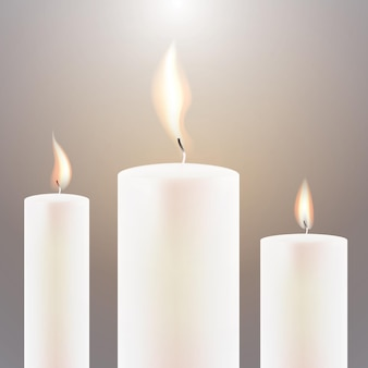 세 개의 촛불 불꽃. 벡터 일러스트 레이 션.